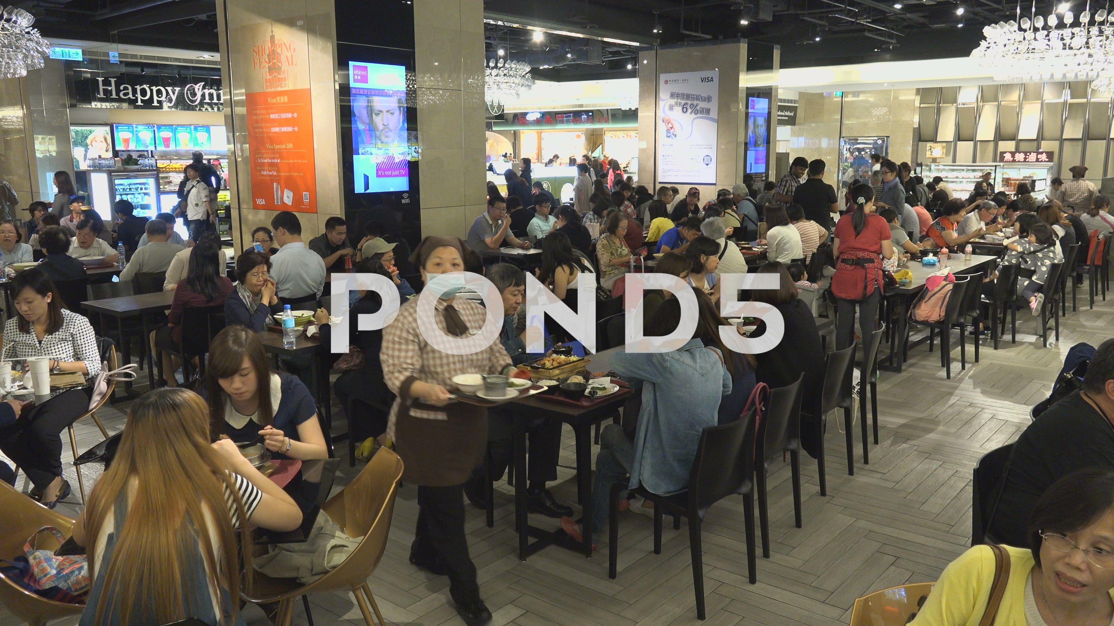 Asian food busy popular restaurant modern food court