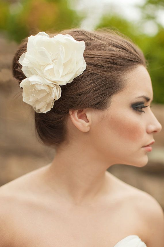 Bridal Silk Flowers Wedding Hair Flower Fascinator Ivory White Clip Pair Lucy Made