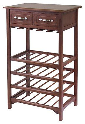 Winsome Wood Wine Rack w/ 2 Drawers, Antique Walnut $112