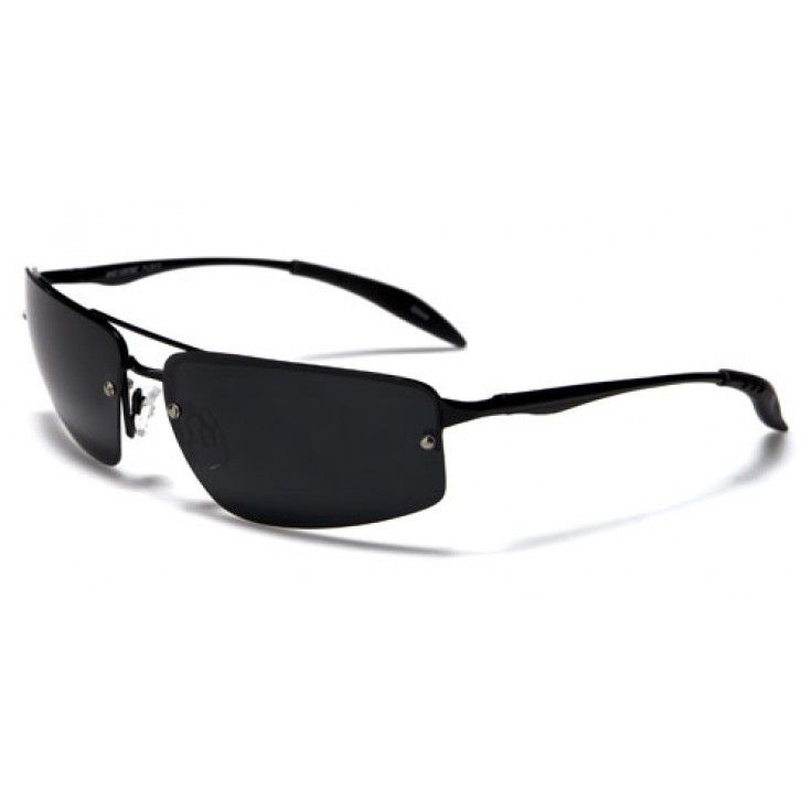 c38bdc5fabf BeOne Mens 1.1 MM Polarized Rectangle Rimless Sunglasses Black with Black  Lens