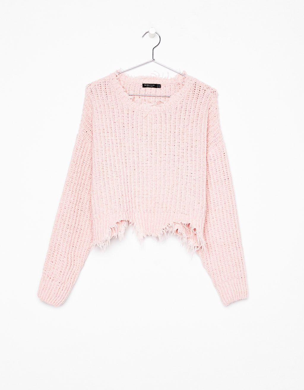 Pink cropped sweater with rips - Bershka #pink #cropped #sweater ...