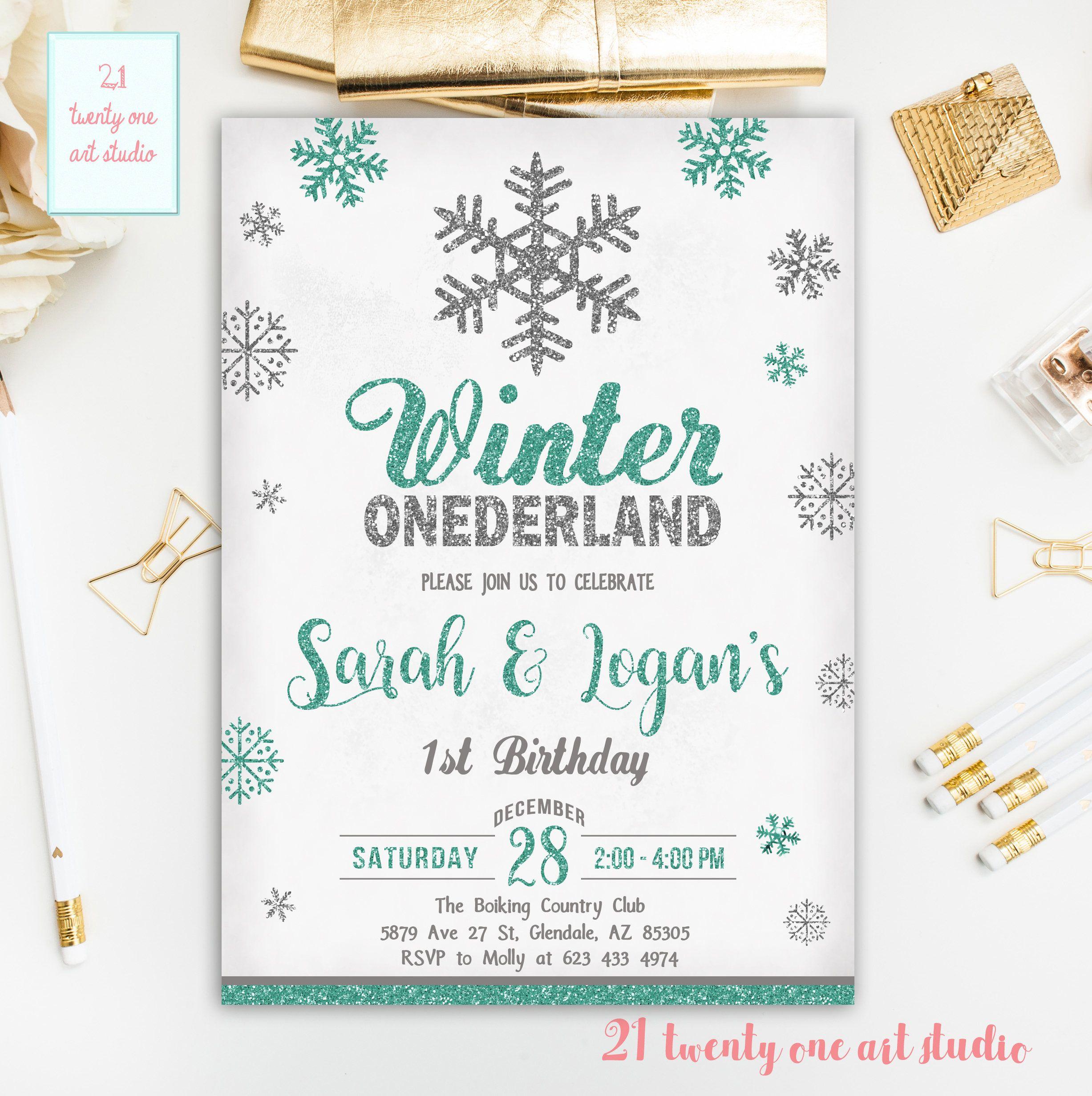 Snowflake Birthday Invitation, Winter Onederland First Birthday ...
