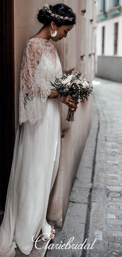 2 Pieces Lace Top A-line Chiffon Side Slit Boho Wedding Dresses