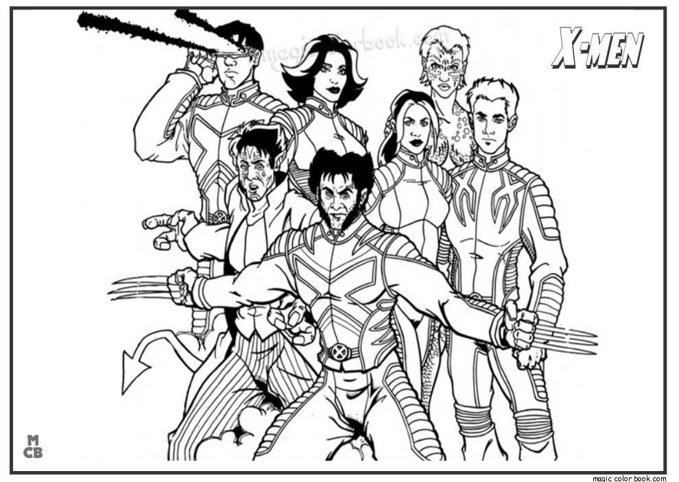 X men coloring pages free printable 18 png 990x703