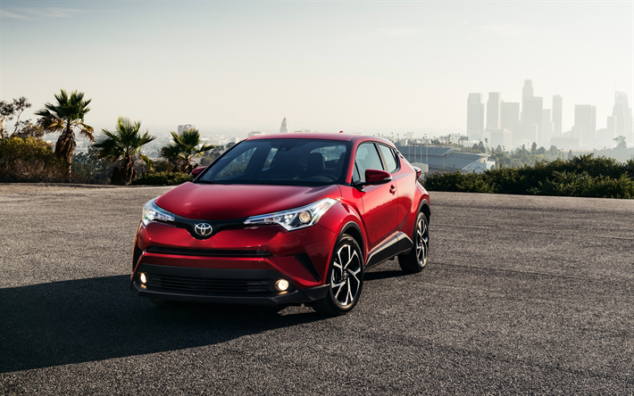 Download Wallpapers Toyota Ch R 2018 Front View Exterior Photoshoot New Red Ch R Japanese Crossovers Besthqwallpapers Com Toyota C Hr Toyota Japanese Cars