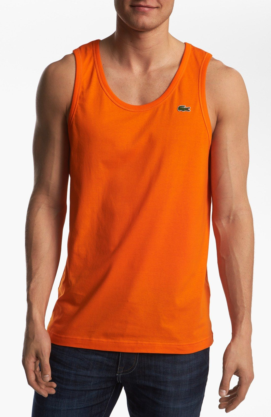 4364cd934d8ea Lacoste Tank Top in Orange for Men (bright orange)