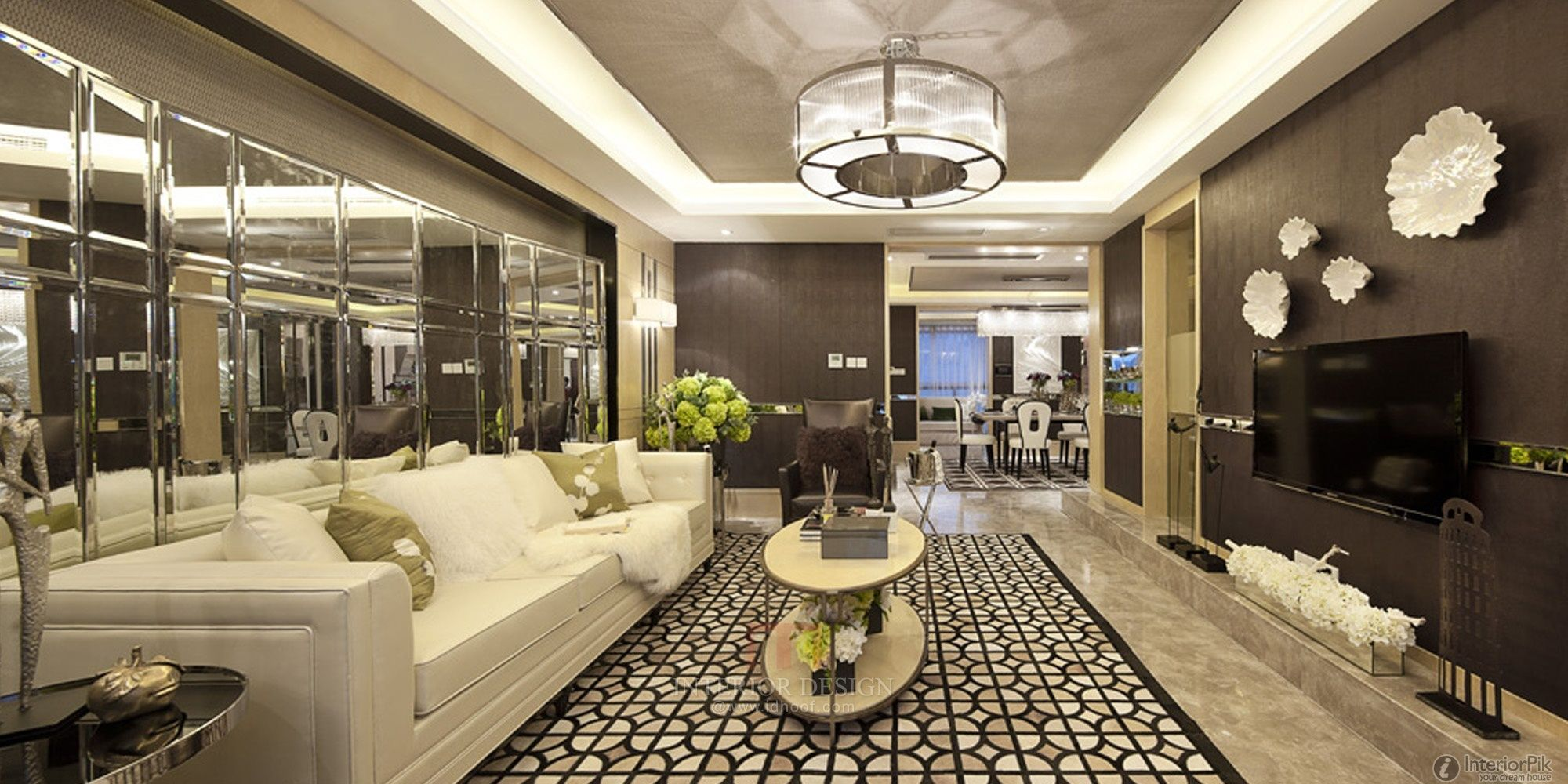 Neo Classical Style Of Home Living Room Ceiling Decoration 2014