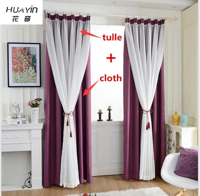 Huayin velvet linen curtains tulle window curtain for bedroom livi apartment by antiche long Living room with purple curtains