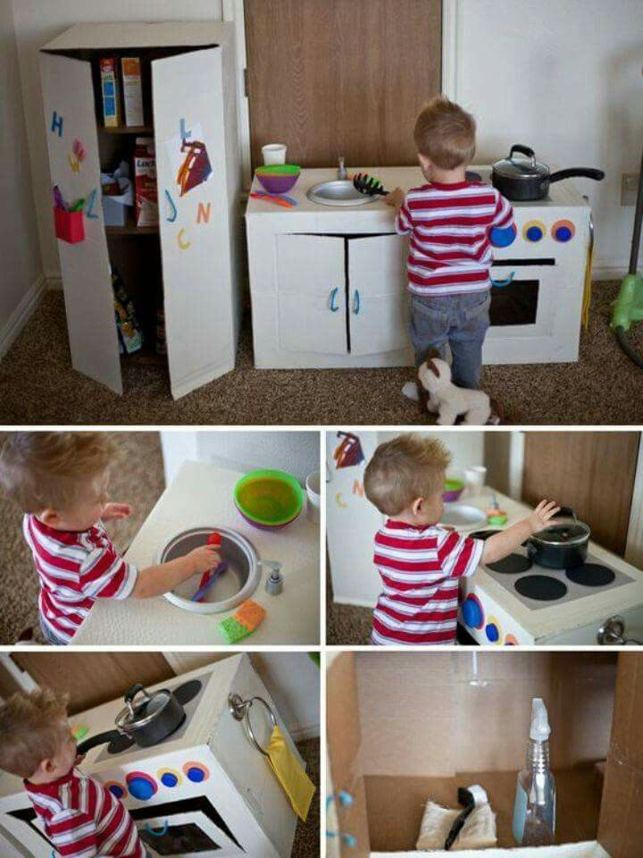 how to make a toy kitchen out of cardboard