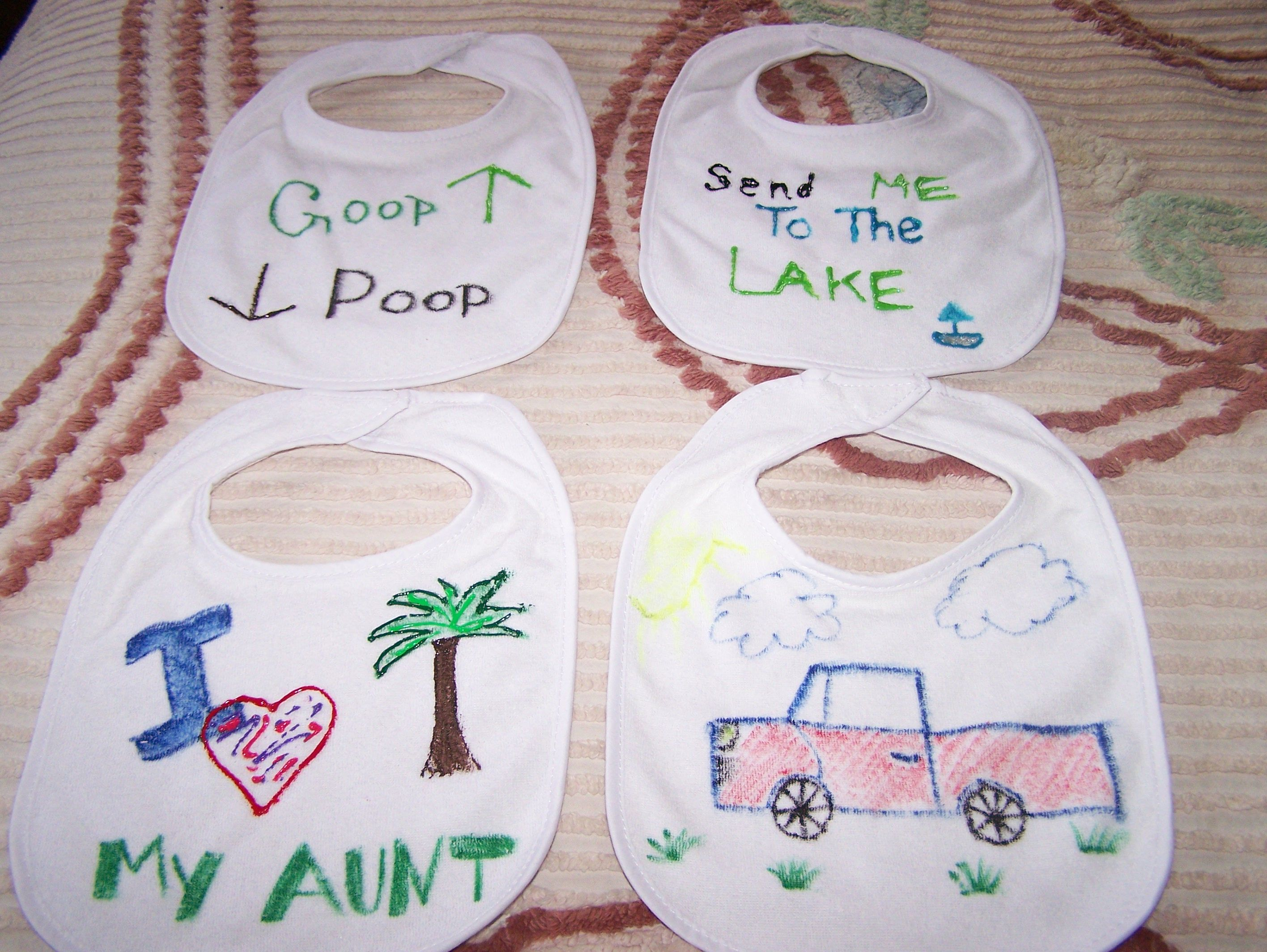 Baby Shower Craft Instead Of Games..attendees Created Bibs With Fabric  Markers U0026 Paints