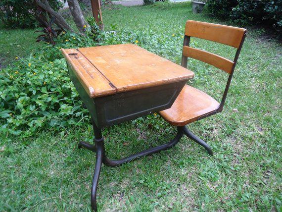 Antique School Desk American Seating Company by HomeAloneVintage - Antique School Desk American Seating Company By HomeAloneVintage