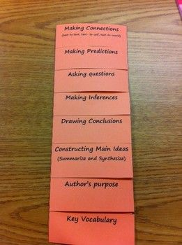 27b3823e20a Reading Strategies FOLDABLE- could be done as a checklist (for when they  have an understanding of the concept) in their binder notebook.