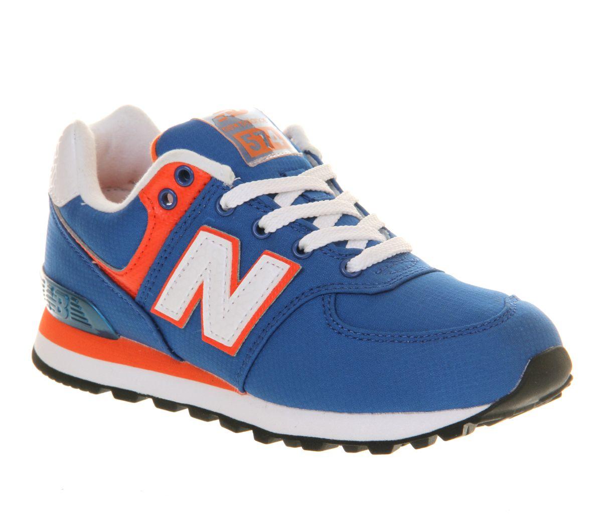 New Balance Kids 574 Lace Royal Blue Orange - Unisex