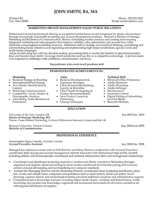 A resume template for an Account Executive Assistant You can - marketing communications manager resume