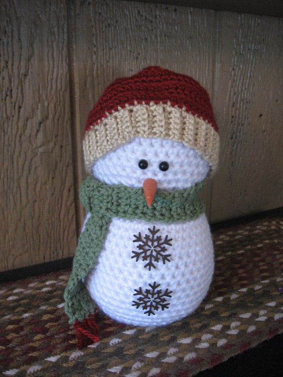 Crocheted Snowmancountry Snowmanrustic Stuffed Snowmanwinter