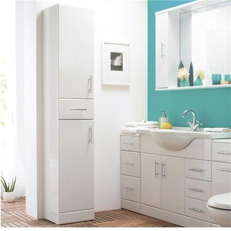Alaska High Gloss White Deep Tallboy W350 X D330mm At Victorian Plumbing Uk High Gloss White Tall Cabinet Storage Modern Cabinets