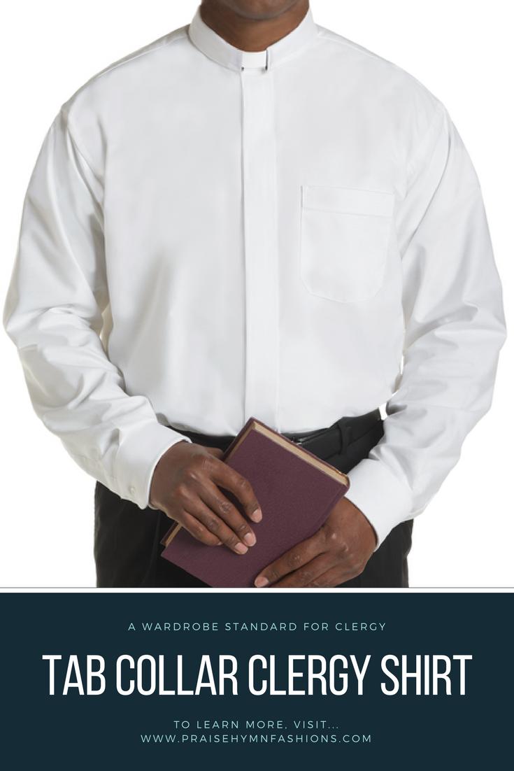 Tab Collar Standard Cuff Pastor Long Sleeve Mens Black Clergy Shirt Priest