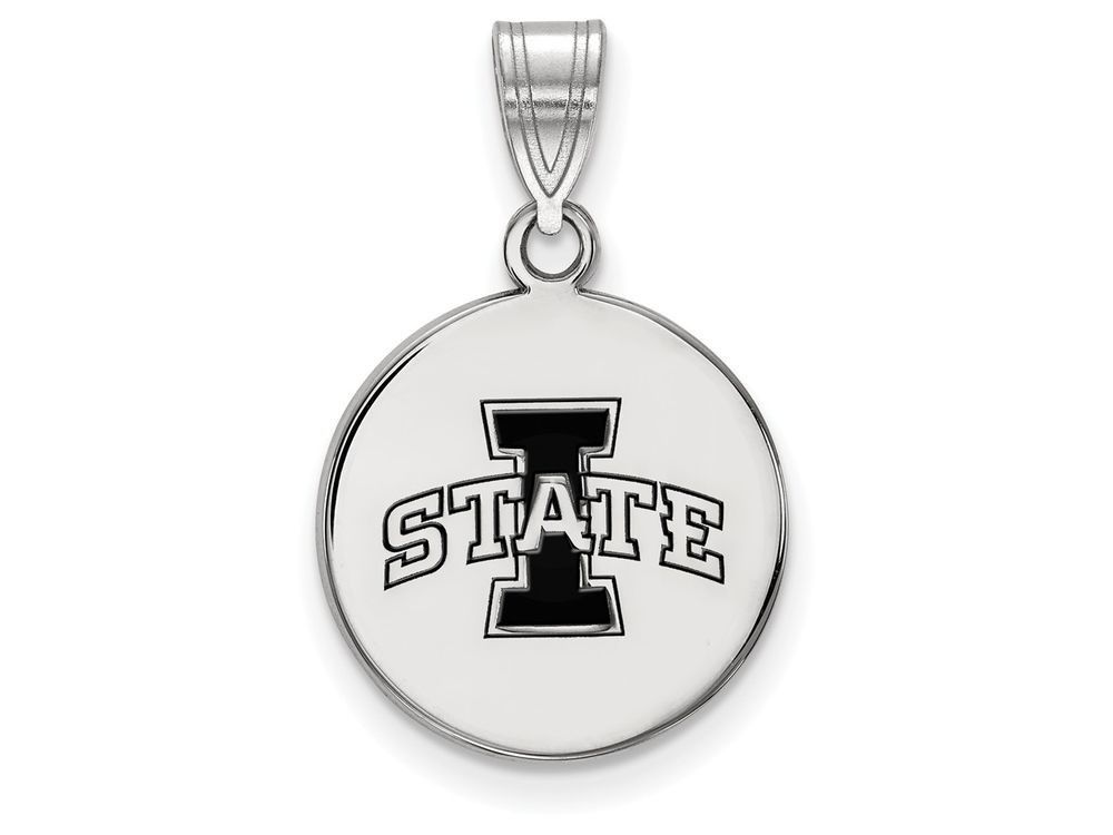 LogoArt Sterling Silver Iowa State University Medium Enamel Disc Pendant Necklace - Chain Included