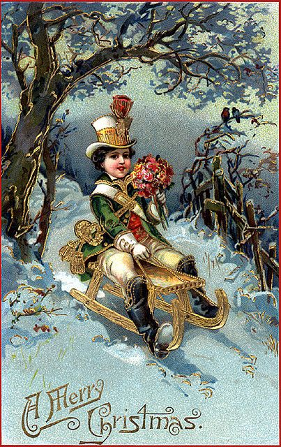 a merry christmas, vintage postcard