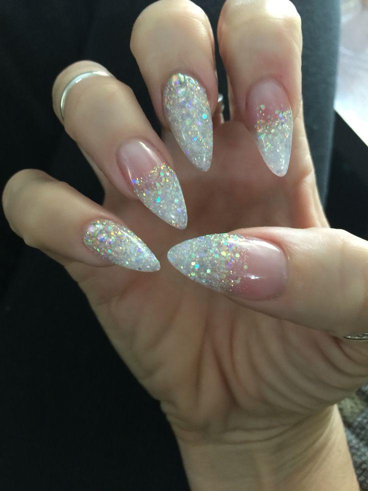 Sparkle Stiletto Nails My Blog Dezdemonnailart Top Dipped Nails Pointed Nails White Glitter Nails