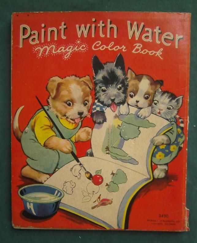 1937 Paint With Water Magic Color Book Ebay Coloring Books Vintage Coloring Books Books