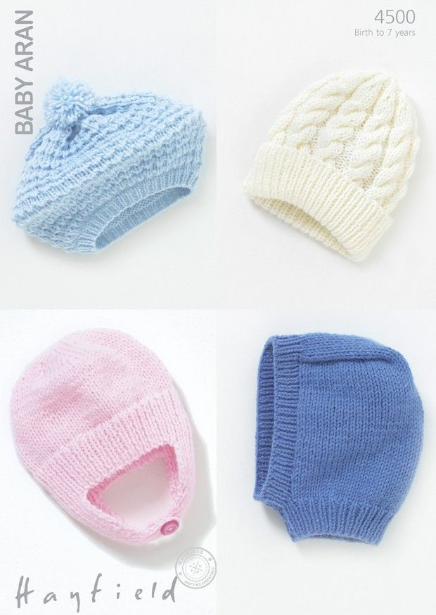 Baby Helmet, Beret, Balaclava and Pull-On Hat in Hayfield Baby Aran ...