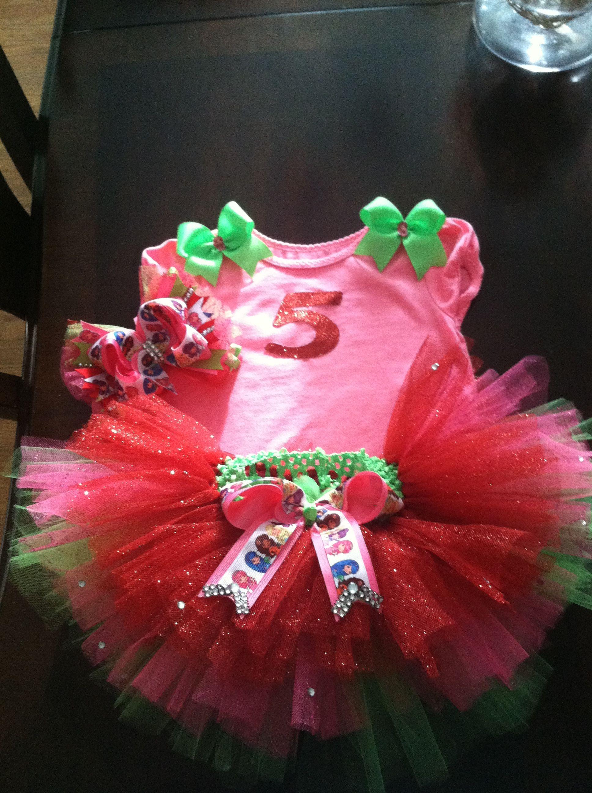 Strawberry shortcake theme birthday party 5 year old tutu set.   Three pc $35 by Veronica Arreola.