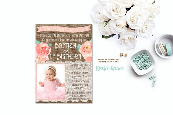 Baptism Birthday Invitations Joint Birthday Baptism Invites Peach