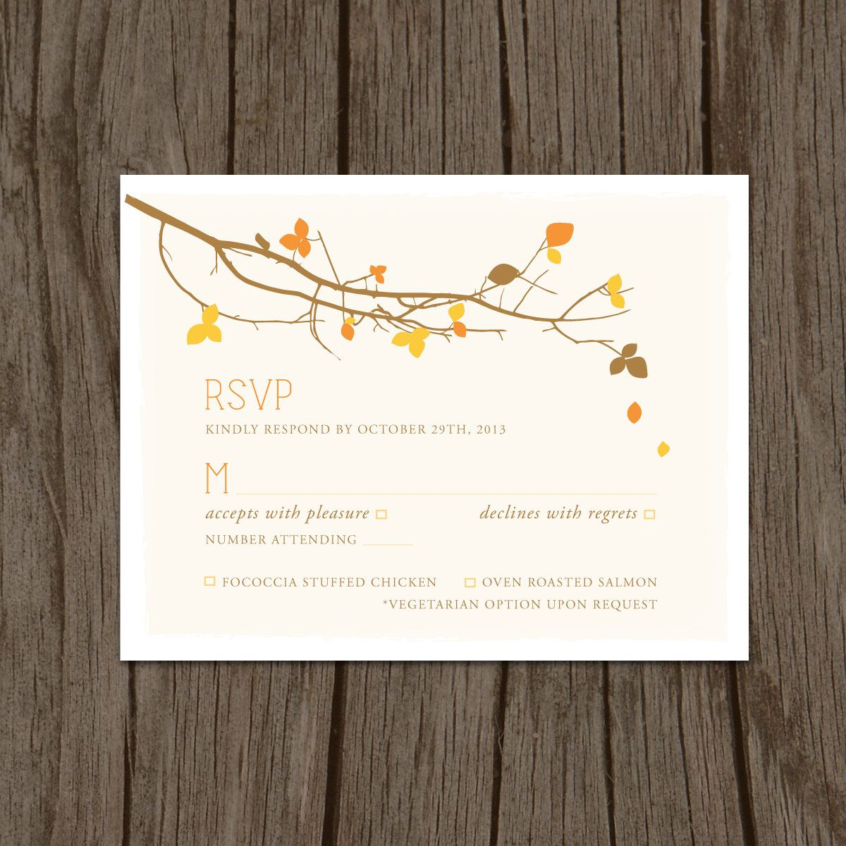 Fall Leaves Modern Wedding Invitation, Reception, Seating Assignment ...