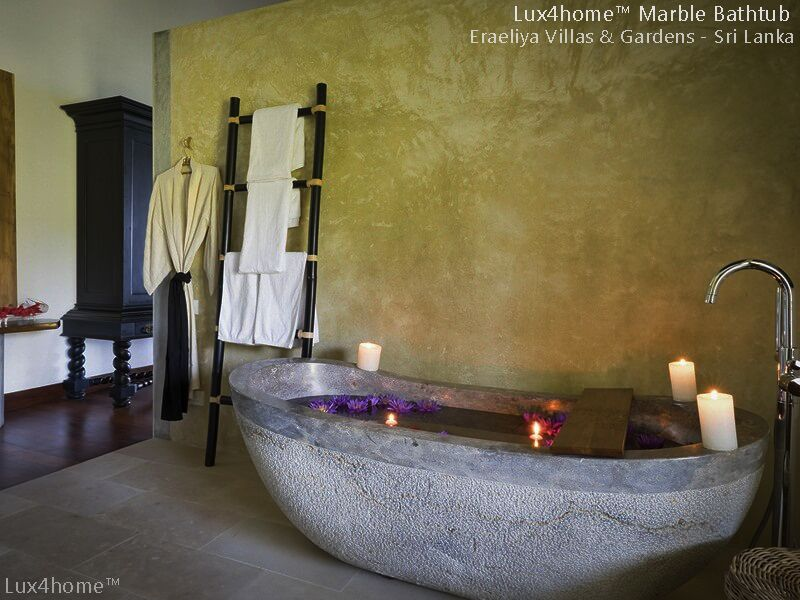 stone marble bathtub - marble tub srilanka villas - stone sinks