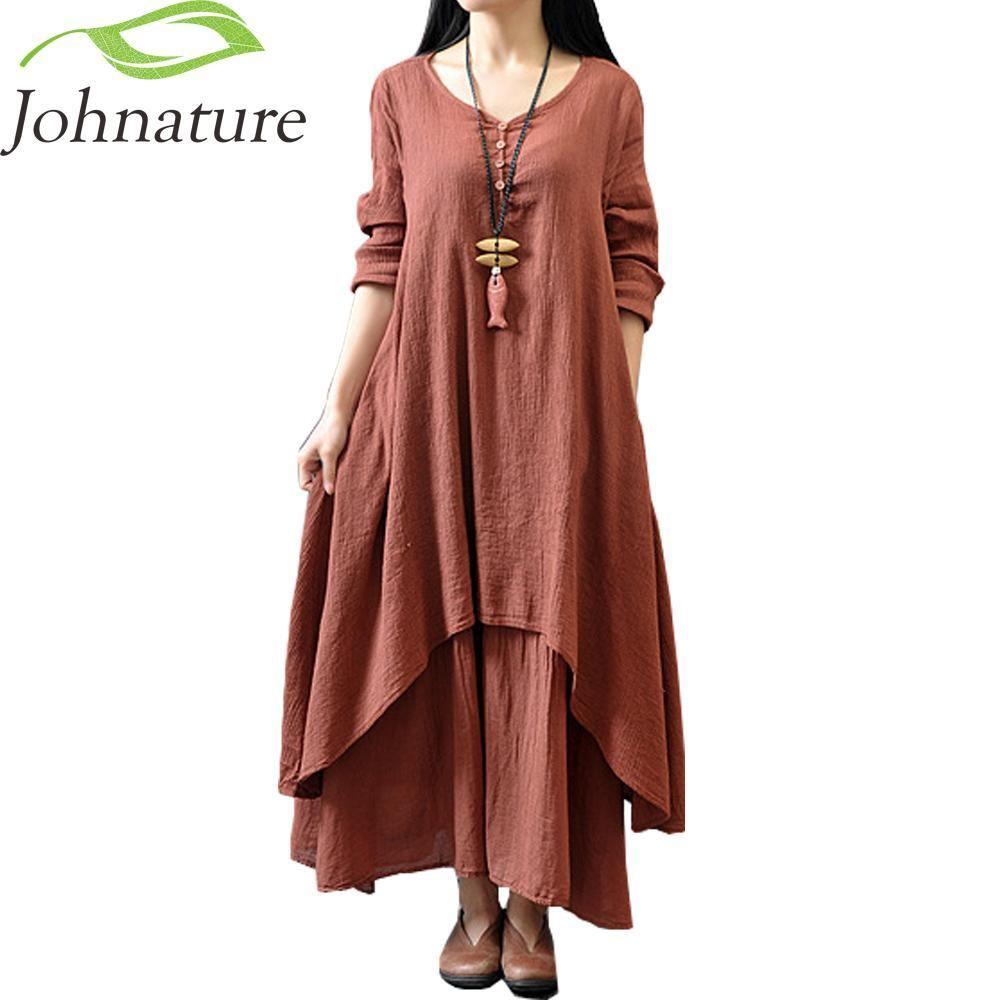 Enrich Your Shopping List Wisely At Solaceconnect Com Johnature Cotton Color Women Maxi Dress Aut Loose Long Sleeve Dress Boho Dresses Long Maxi Dress Cotton [ 1000 x 1000 Pixel ]