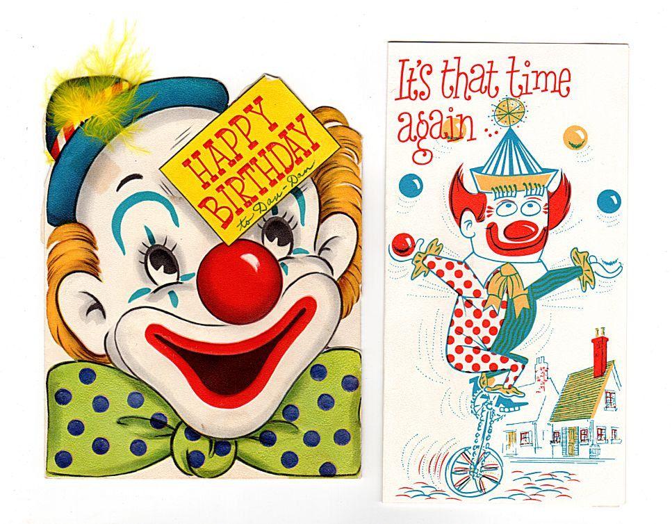 Clown Birthday Card Little Yankee Shoes Unicycle Birthday Card