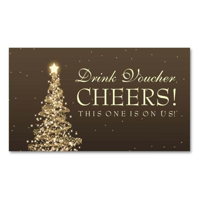 Christmas Wedding Drink Voucher Gold Double-Sided Standard
