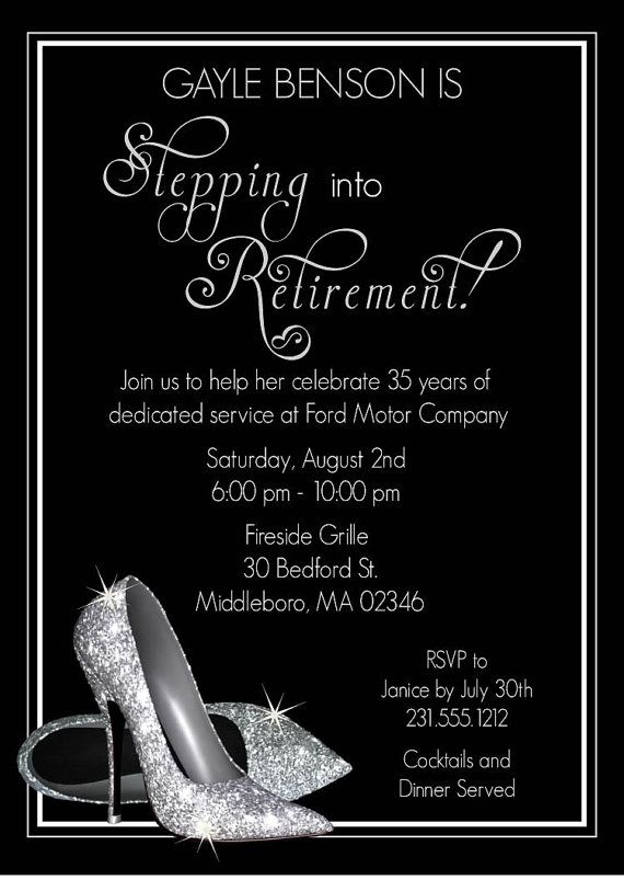 silver glitter shoes retirement invitation ideal for anyone stepping into retirement by announceitfavors