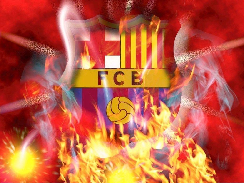 fc barcelona logo on fire hd wallpaper ( barcelona logo) | barcelona
