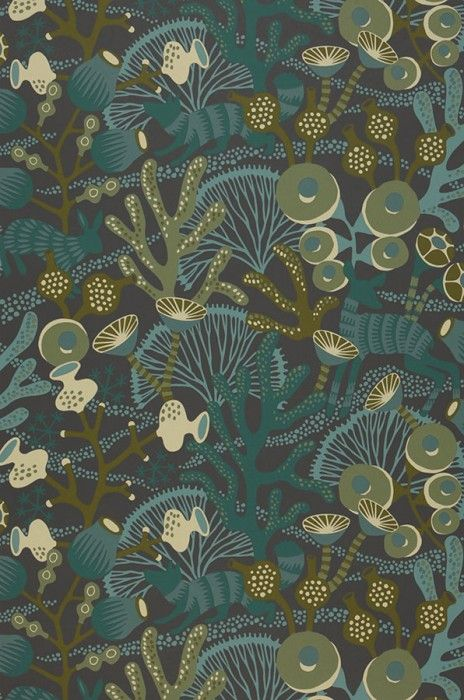 Tapete Serena Pattern Wallpaper Wallpaper Olive Green