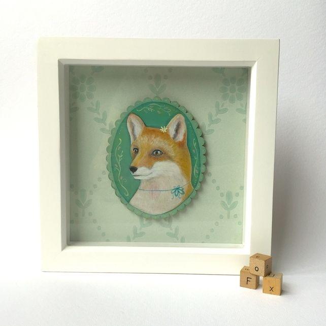 Juniper the fox, framed original animal painting  £40.00