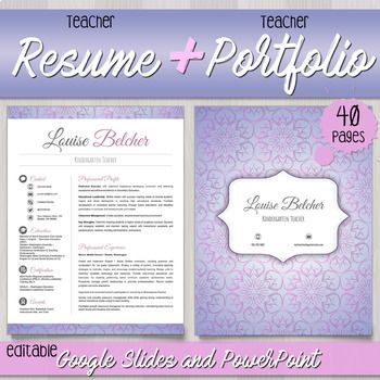 Teacher Resume  Teacher Portfolio For Interview Templates
