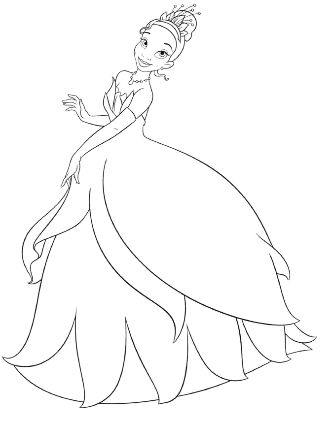 Disney Princess Tiana Printable Coloring Pages Princesses