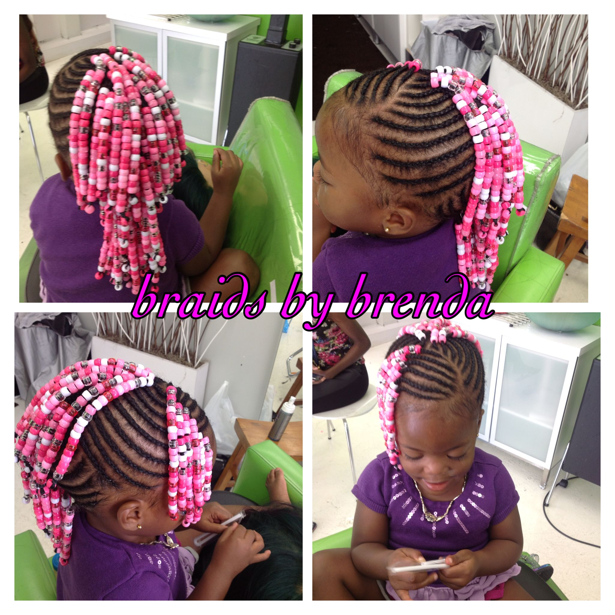 Beaded Cornrows Mohawk With Side Bangs Little Girl Braided