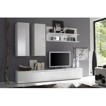meuble tv mural laqu blanc parana - Meuble Tv Blanc Glossy