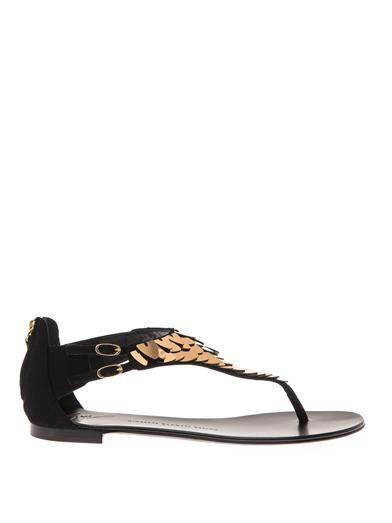 Metal-embellished suede sandals | Giuseppe Zanotti | MATCHESFA...