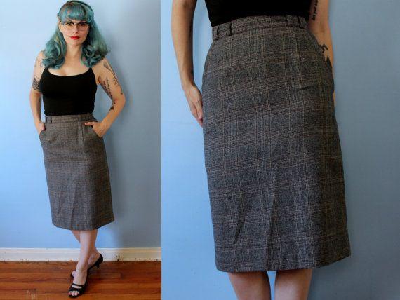 Vintage 1950's Pencil Skirt // Grey Plaid High Waisted Wiggle Skirt // Wool…