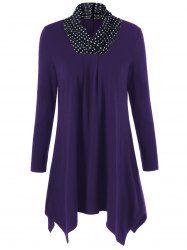 Plus Size Polka Dot Patchwork Longline T-Shirt in Deep Purple   Sammydress.com Mobile
