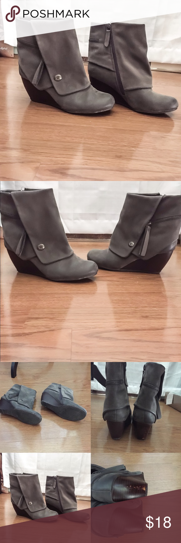 Blowfish Gray Wedge ankle Booties These are Blowfish wedge ankle wedges in a gray/slate color, Style Basha. They are size 8.  Please note the photo of the back heel. That is the only known cosmetic issue, as overall they are in good condition. I tried to show the condition of the shoes in the pictures and priced them accordingly. Serious offers only. Blowfish Shoes Ankle Boots & Booties