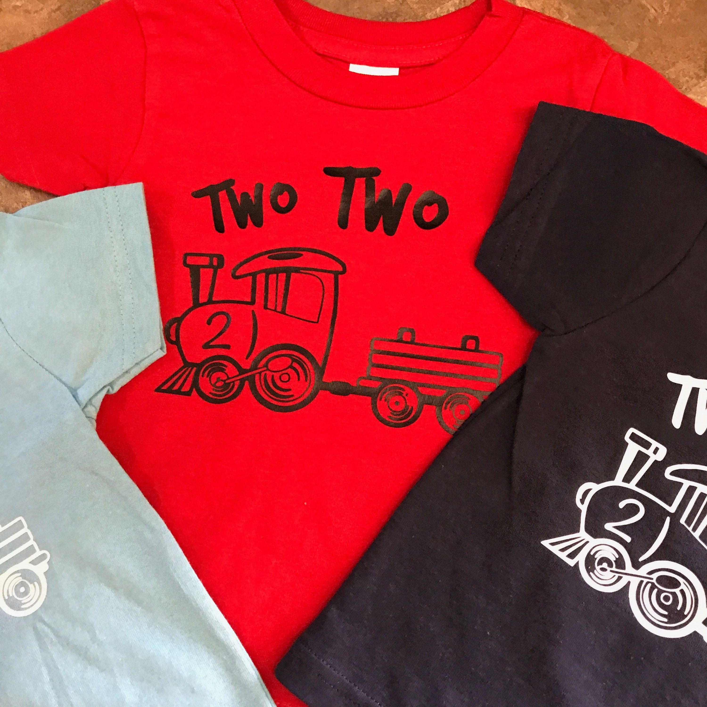 Two Train Years Old 2 2nd Birthday Second Trains Boy Choo Party Shirt By