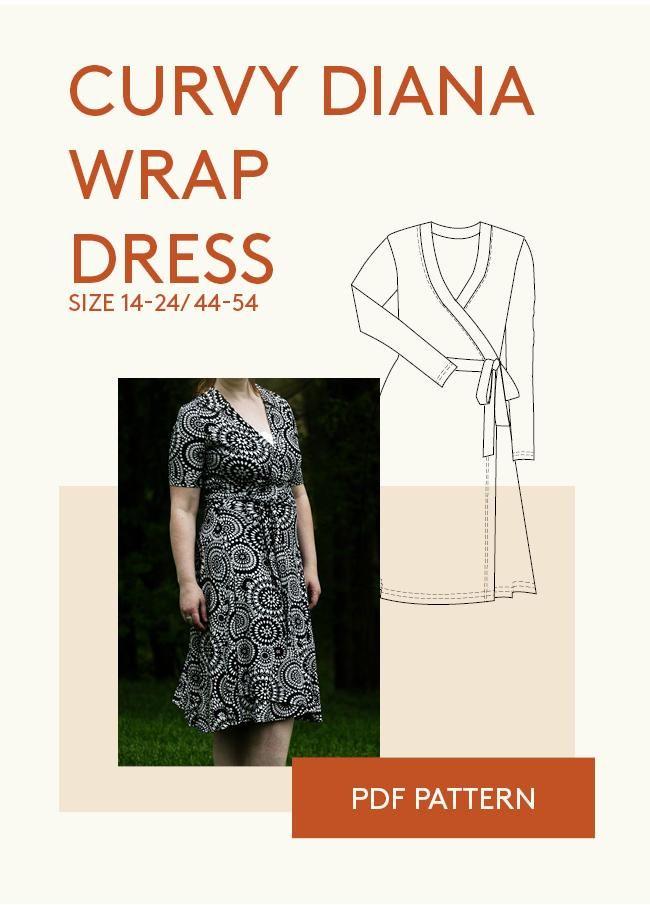Diana Wrap Dress Curvy Sewing Pattern | Costura