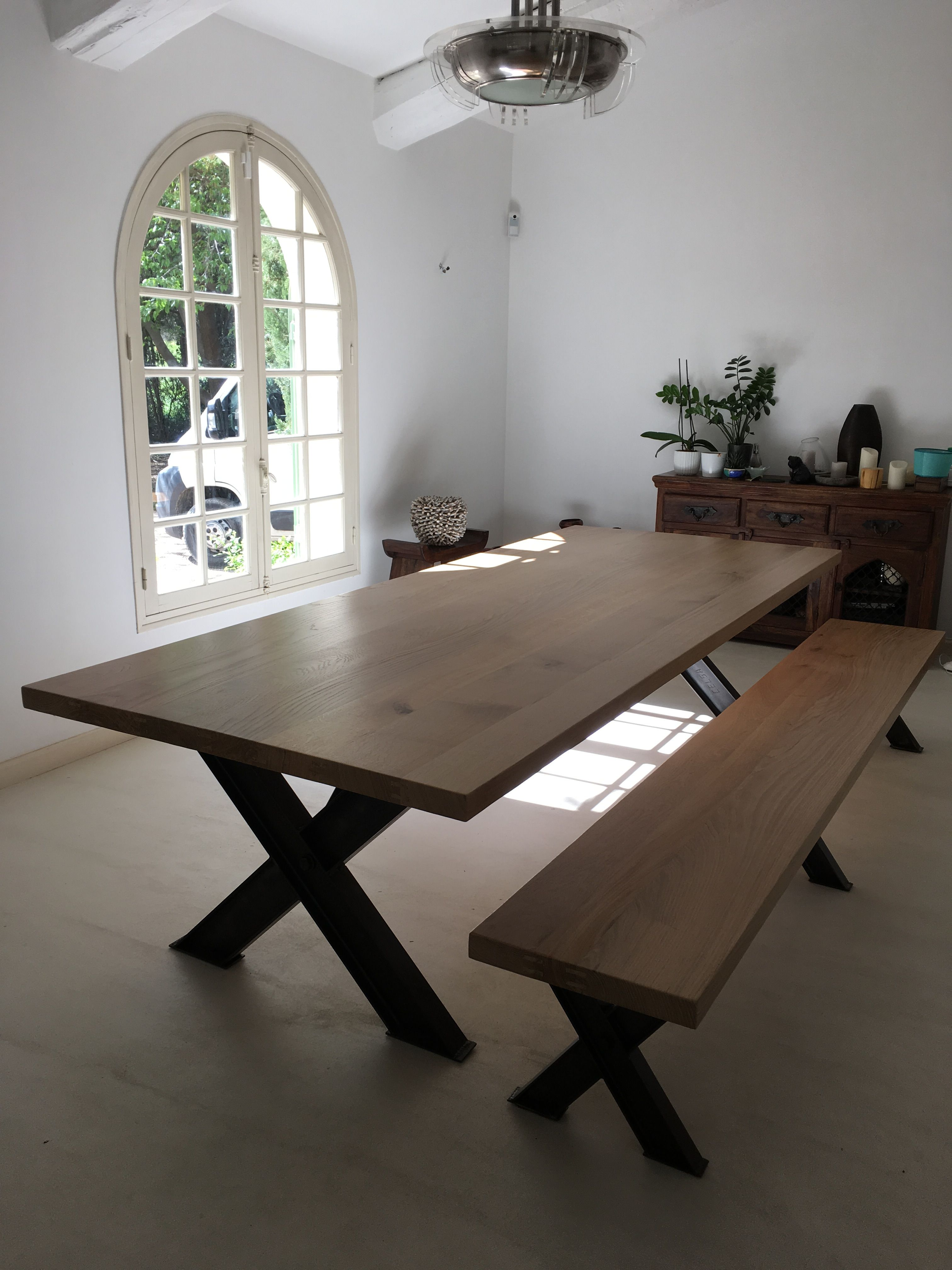 Table Pieds En Croix Pieds X Ipn Industrielle Avec Son Banc Deco Salle A Manger Salle A Manger Industrielle Salle A Manger