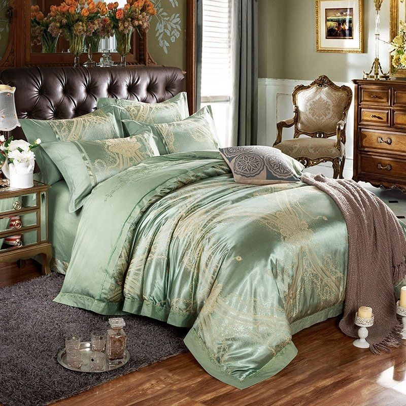 Bed Linens Luxury Bedding Sets, Gold And Sage Green Bedding