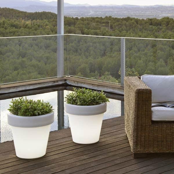 Pack 2 maceteros iluminados de exterior magnolia light es - Maceteros para terrazas ...